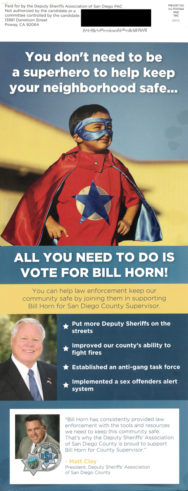 The Deputy Sheriffs' Association PAC is supporting San Diego Supervisor Bill Horn's re-election. Credit: courtesy photo.