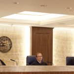 (left to right) Judges Alex McDonald, Gilbert Nares and James McIntyre of the Fourth District Court of Appeal in San Diego hear oral arguments from inewsource and North County Transit District counsels on Tuesday, May 12, 2015. Photo by Brad Racino/inewsource.