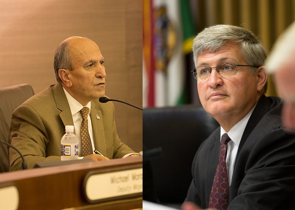 Escondido Mayor Sam Abed (l) and San Diego County Supervisor Dave Roberts (r). Credit: Megan Wood/inewsource