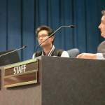 San Diego Unified facilities chief Lee Dulgeroff at the November 10, 2015 meeting where members unanimously approved a plan to air-condition all classrooms by 2019 and counter the carbon emissions with new solar panels. Ingrid Lobet, inewsource