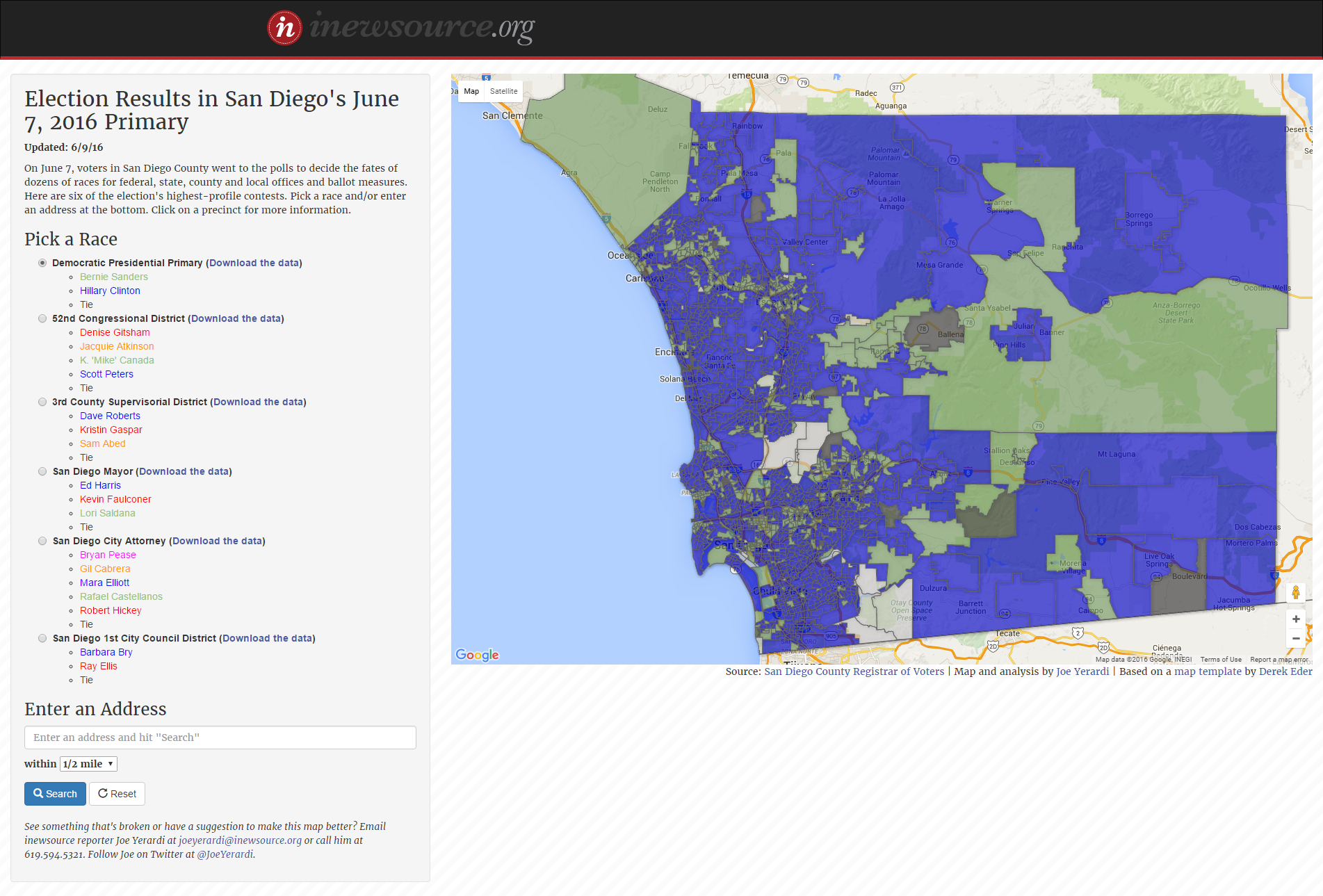 Newsletter Election Results Map And Hospice San Diego News From Inewsource